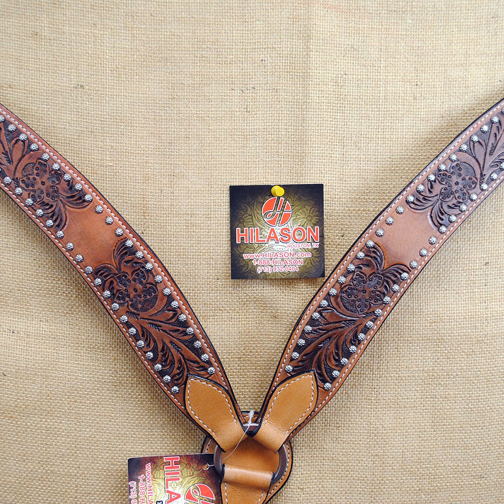 New Hilason Western Hand Tooled Leather Horse Breast Collar - Dark Brown   B00B5IPJN4