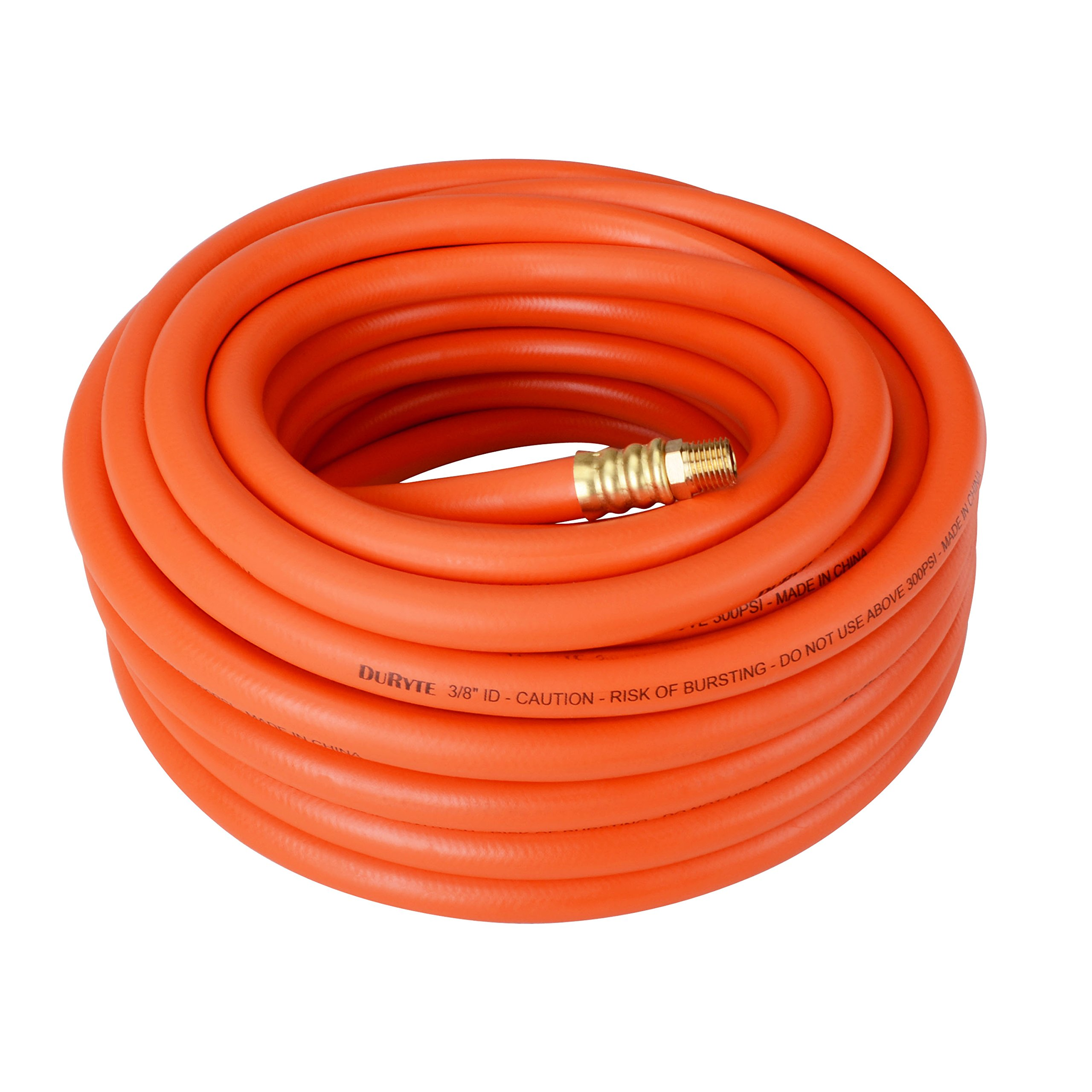 DuRyte Pro 300 PSI Rubber Air Hose - 3/8-Inch by 50-Feet, 1/4-Inch MNPT Brass Ends