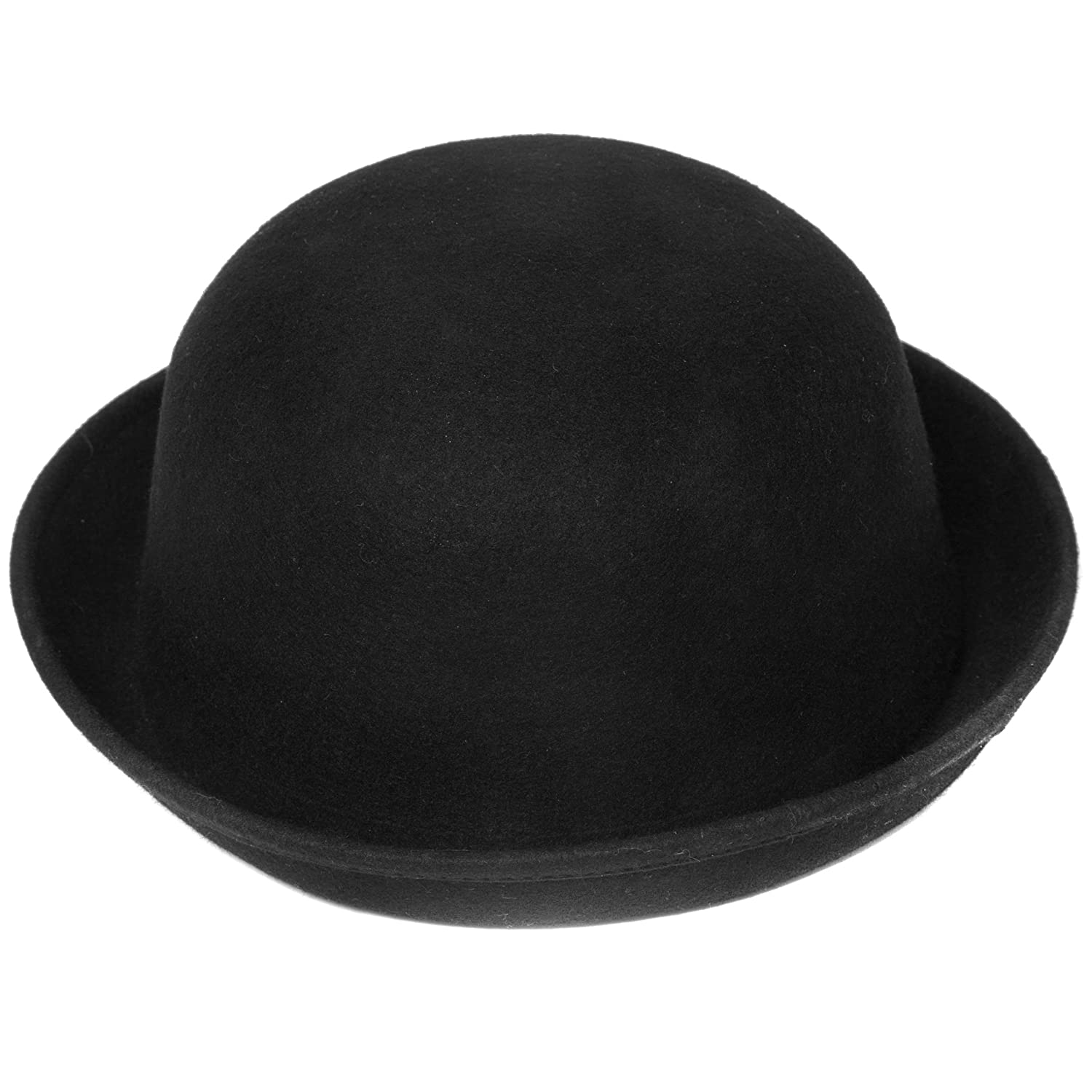 Plain Black Wool Bowler Hat Available in a Selection of Sizes