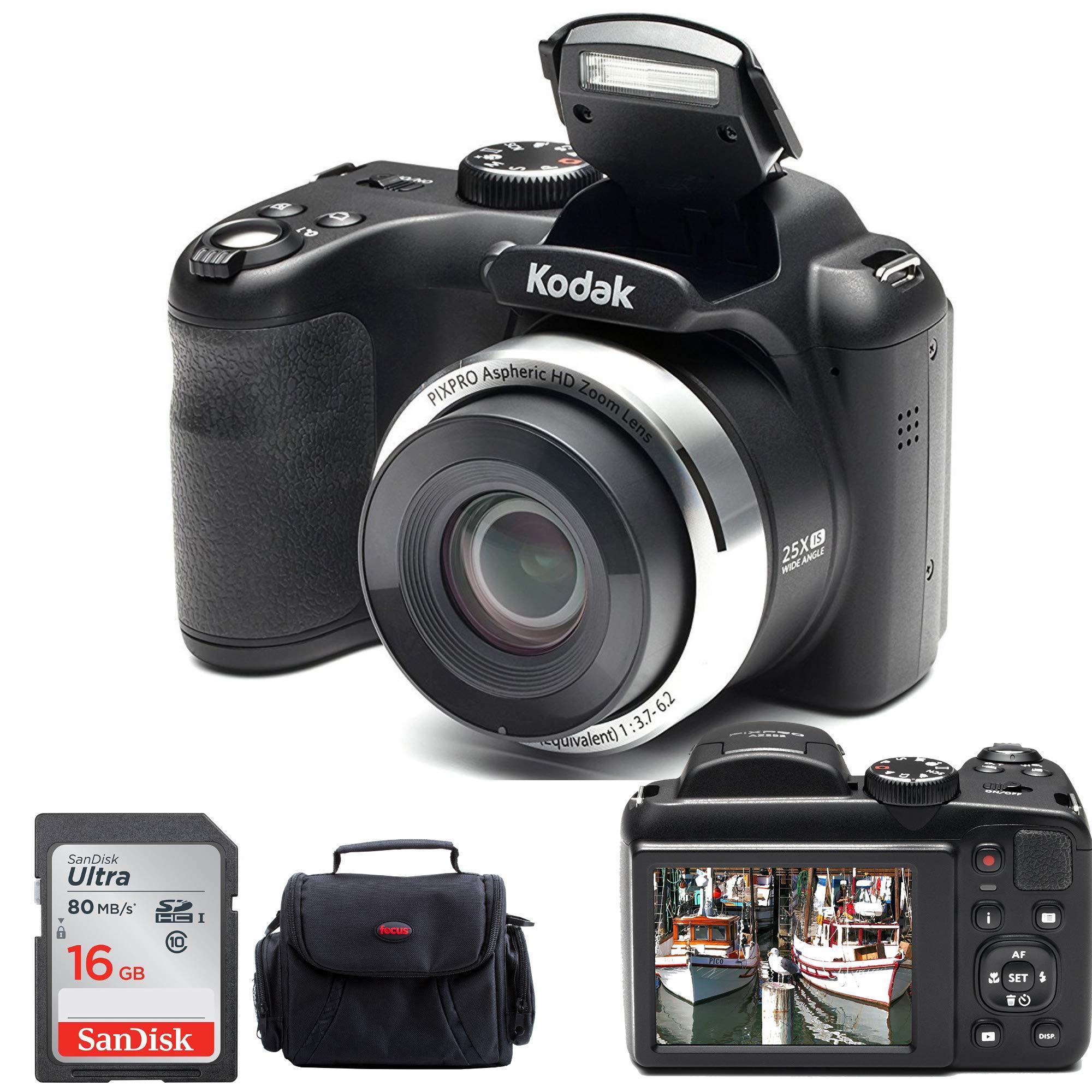 Kodak PIXPRO AZ252 Point & Shoot Digital Camera with 3'' LCD (Black) and 16GB SD Card and Case