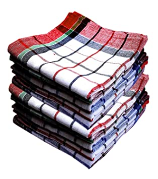 PACK of 12 CHECKED COTTON TEA TOWELS SET KITCHEN DISHCLOTHS CLEANING MULTI PACK