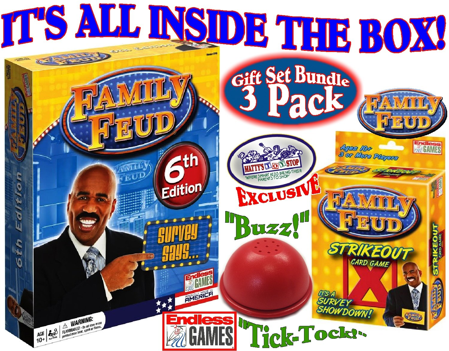 Details about Endless Games Family Feud 6th Edition Set Bundle Includes  Strikeout Card Game,