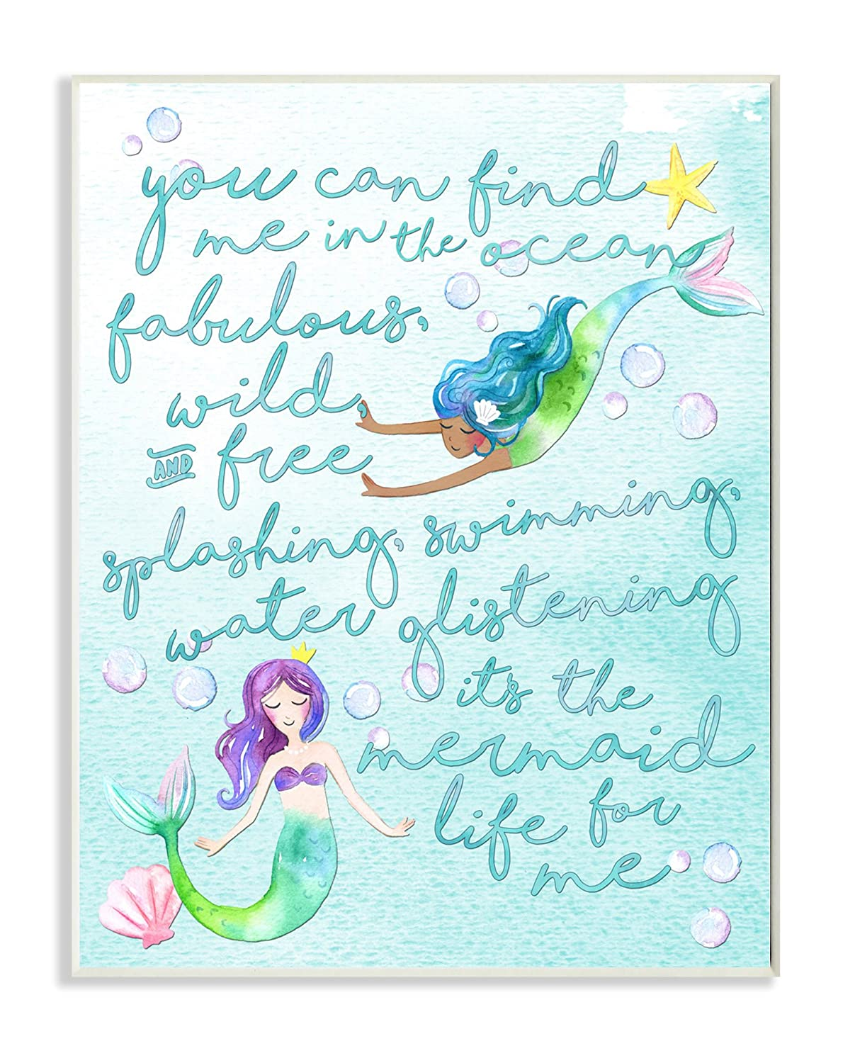Stupell Home Décor Mermaid Life For Me Painting Wall Plaque Art, 10 x 0.5 x 15, Proudly Made in USA Stupell Industries brp-1818_wd_10x15