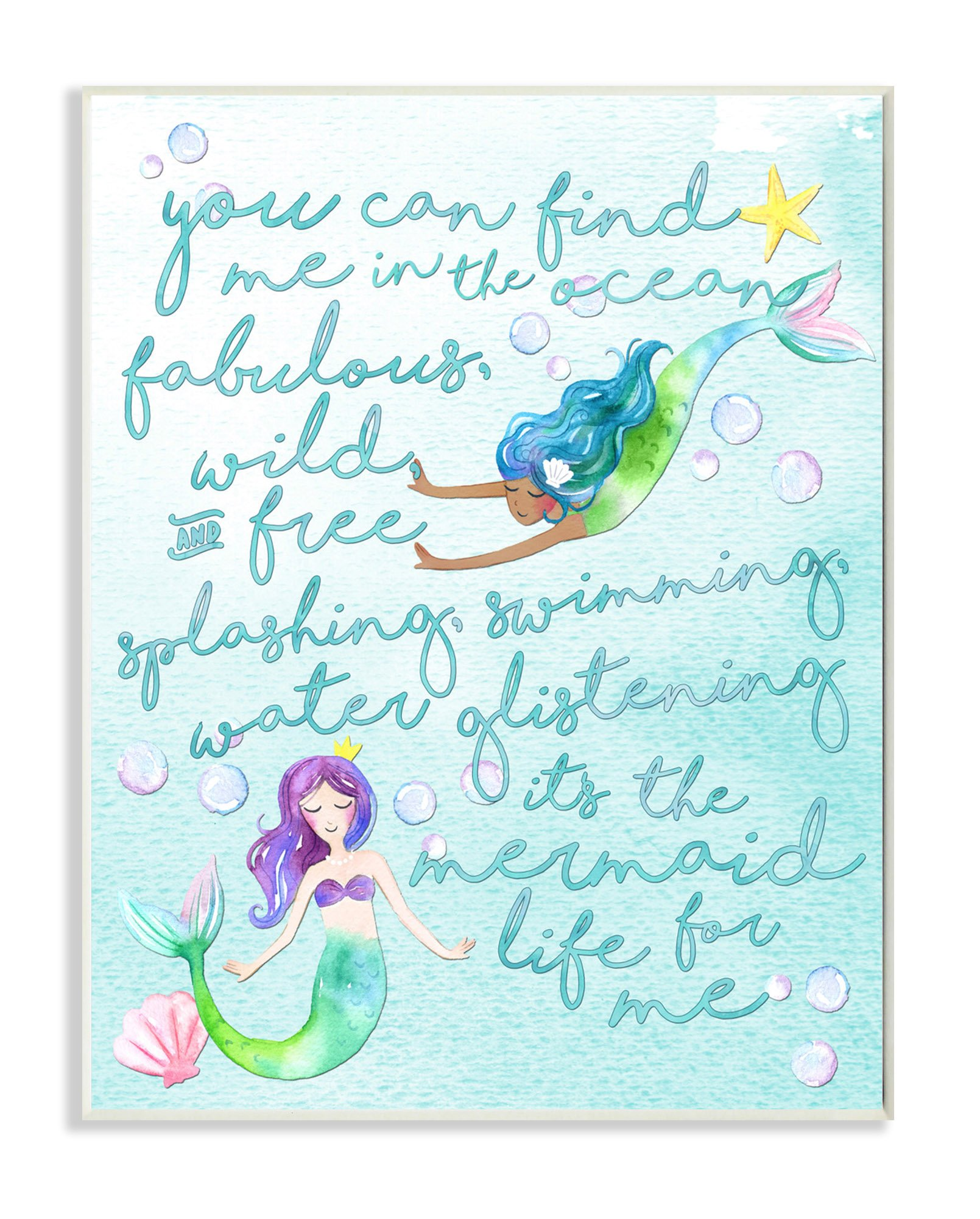The Kids Room by Stupell Stupell Home Décor Mermaid Life For Me Painting Wall Plaque Art, 10 x 0.5 x 15, Proudly Made in USA