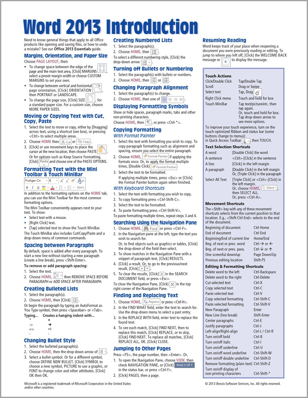 Microsoft Word 2013 Introduction Quick Reference Guide Cheat Sheet Of Instructions Tips Shortcuts