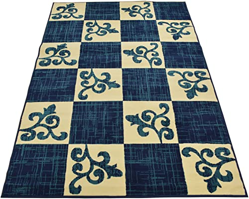 Normian Collection Checkered Floral Abstract Squares Geometric Design Area Rug Rugs Modern Contemporary Area Rug 3 Color Options Navy Blue, 4 9 x 6 10