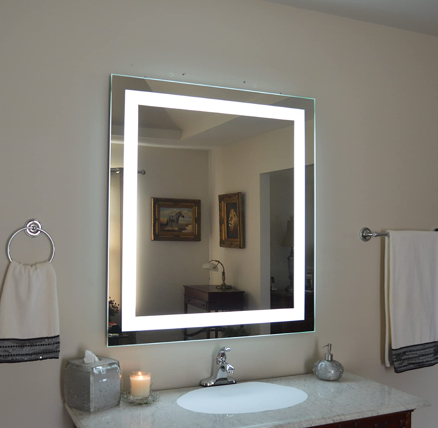 Amazon wall mounted lighted vanity mirror led mam83648 amazon wall mounted lighted vanity mirror led mam83648 commercial grade 36x48 home kitchen aloadofball Choice Image