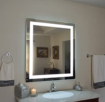 Wall Mounted Lighted Vanity Mirror LED MAM83648 Commercial Grade 36 quot. Amazon com  Wall Mounted Lighted Vanity Mirror LED MAM83648