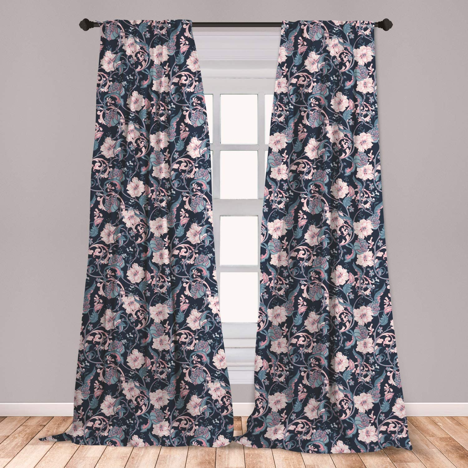 """Ambesonne Victorian Curtains, Vintage Romantic Rose and Magnolia Bouquet with Twigs on Dark Backdrop, Window Treatments 2 Panel Set for Living Room Bedroom Decor, 56"""" x 95"""", Dark Blue"""