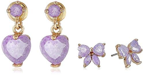 Amazon.com: Betsey Johnson Bow y el corazón Duo Set Stud ...