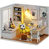 Cute Room DIY Miniature Dollhouse Kit with Furniture,Wooden Doll House Plus LED Lights Dust Cover, DIY House Kit (Study…