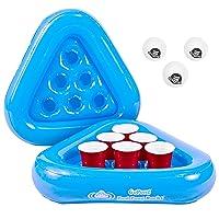 GoPong Pool Pong Rack Floating Beer Pong Set, Includes 2 Rafts and 3 Pong Balls, Blue