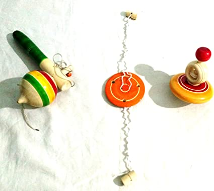 Crafts India Handcrafted Wooden Tops Handspinners Combo Set - 3pcs