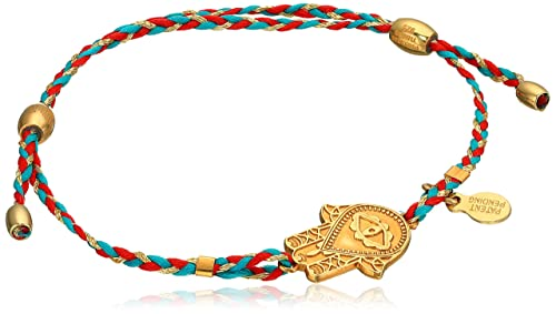 Alex and Ani Hand of Fatima Expandable Red/Teal 14k Bracelet