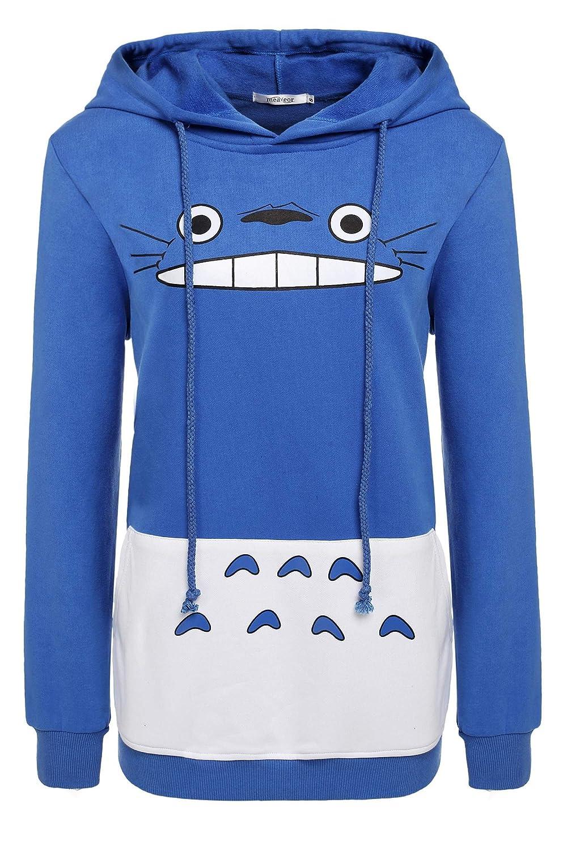 Meaneor Women's Long Sleeve Totoro Print Hoodie Coat Winter Pullover Sweatshirt