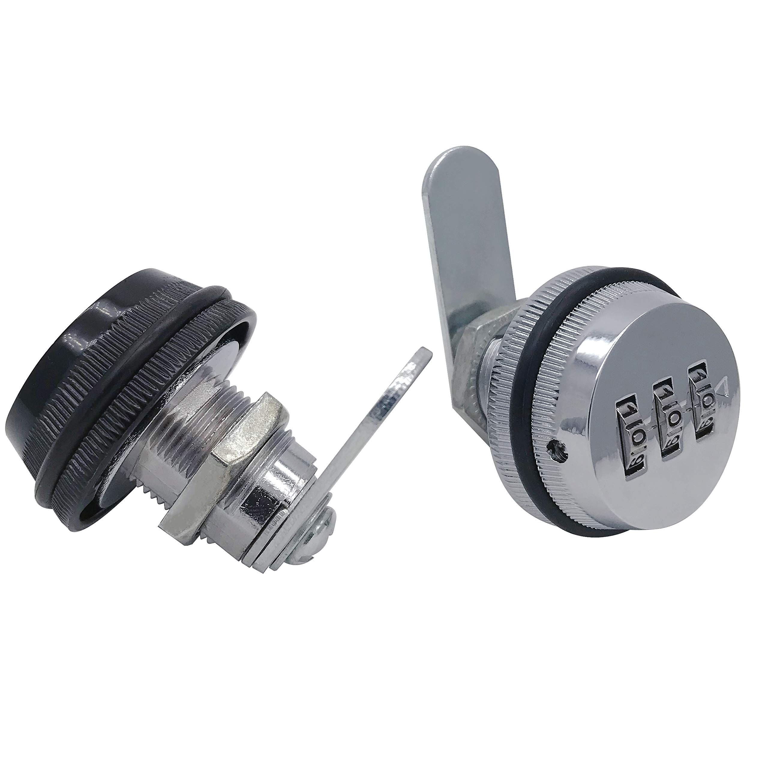 Combination Cam Lock, 20mm Cylinder Length, 3 Digit Code Security Locks for Arcade Cupboard Drawer Mailbox, Silver and Black, 2Pcs