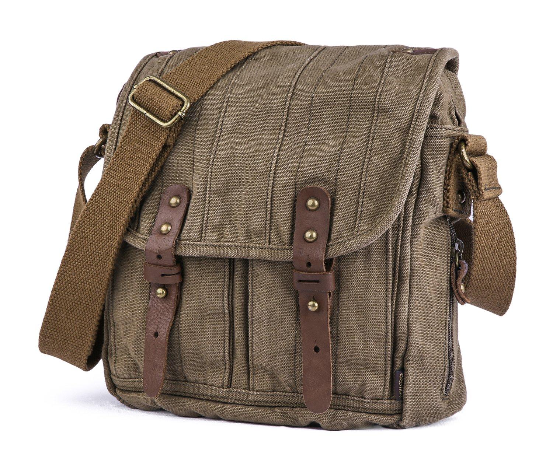 Malet/ín de estilo Vintage Bolso Mensajero De Cuero Caqui Bolso Para Laptop de 14 Pulgadas Gootium 30829KA