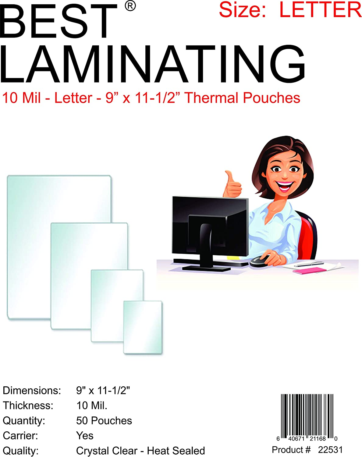 22531 Best Laminating 9 X 11.5 10 Mil Clear Letter Size Thermal Laminating Pouches Qty 50 QDOS Inc