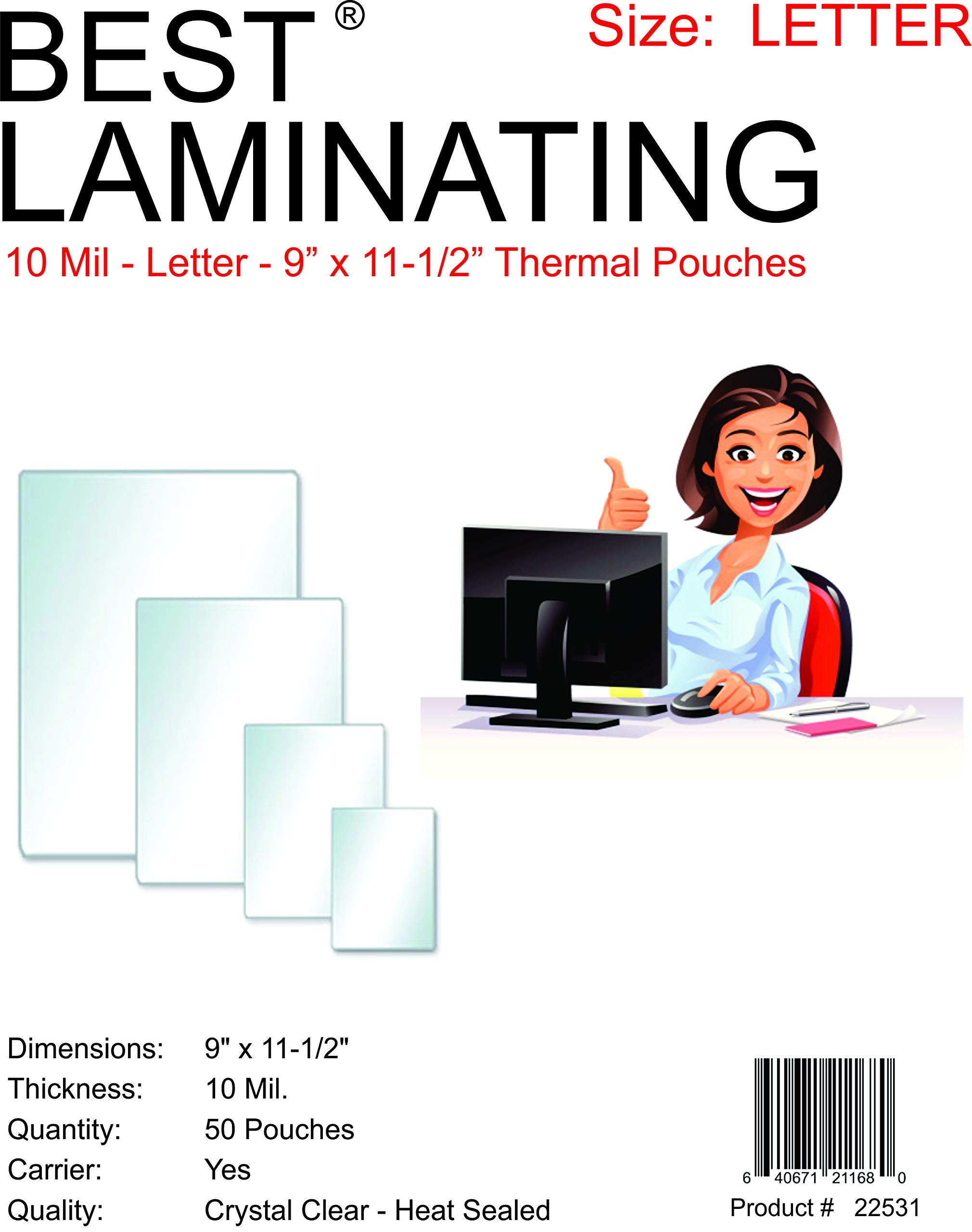 Best Laminating - 10 Mil Clear Letter Size Thermal Laminating Pouches - 9 X 11.5 - Qty 50 by Best Laminating