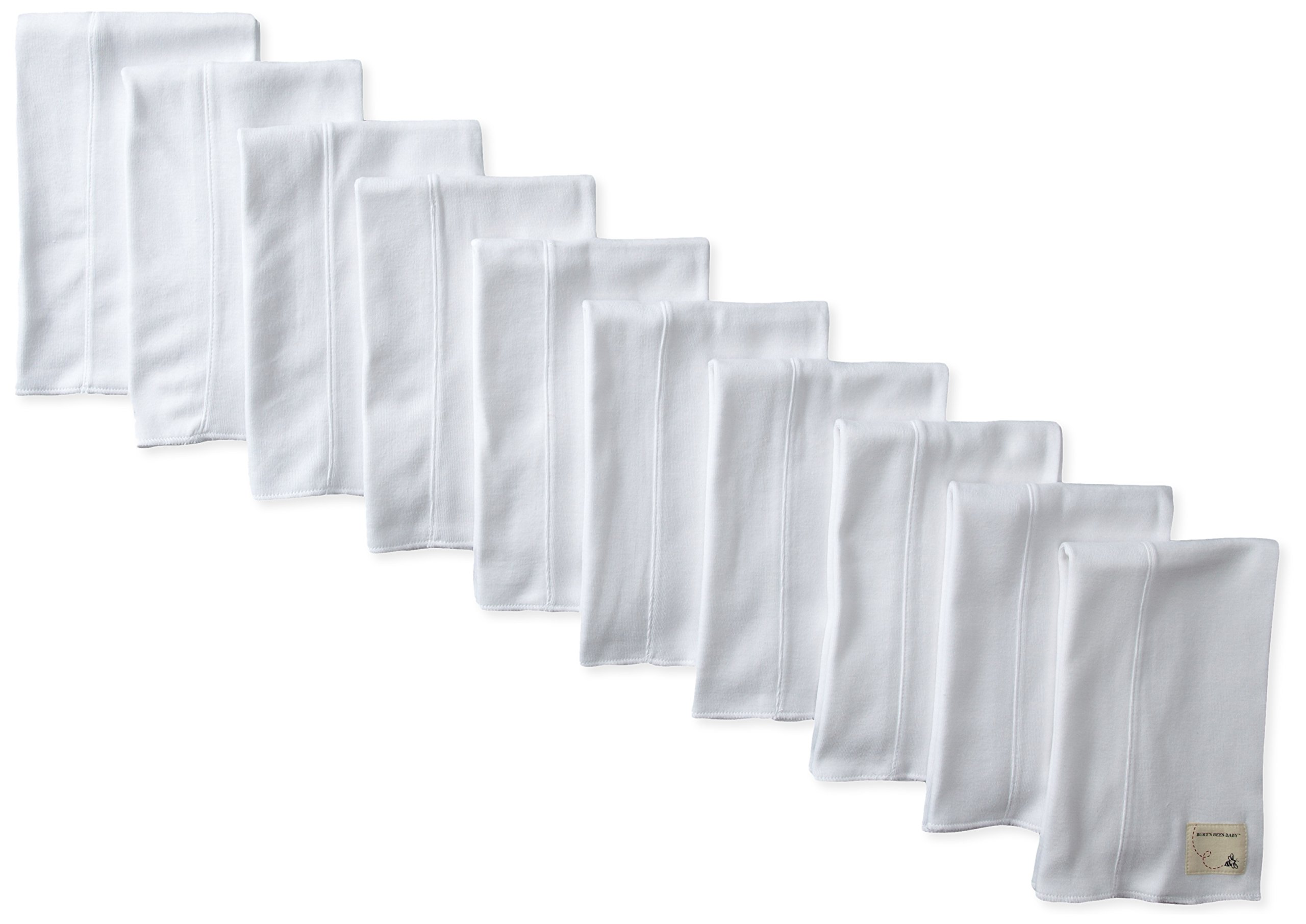 LOVATIC Baby Set of 10 Bee Essentials Solid Burp Cloths, 100% Organic Cotton, Cloud 10 Pack by LOVATIC (Image #1)