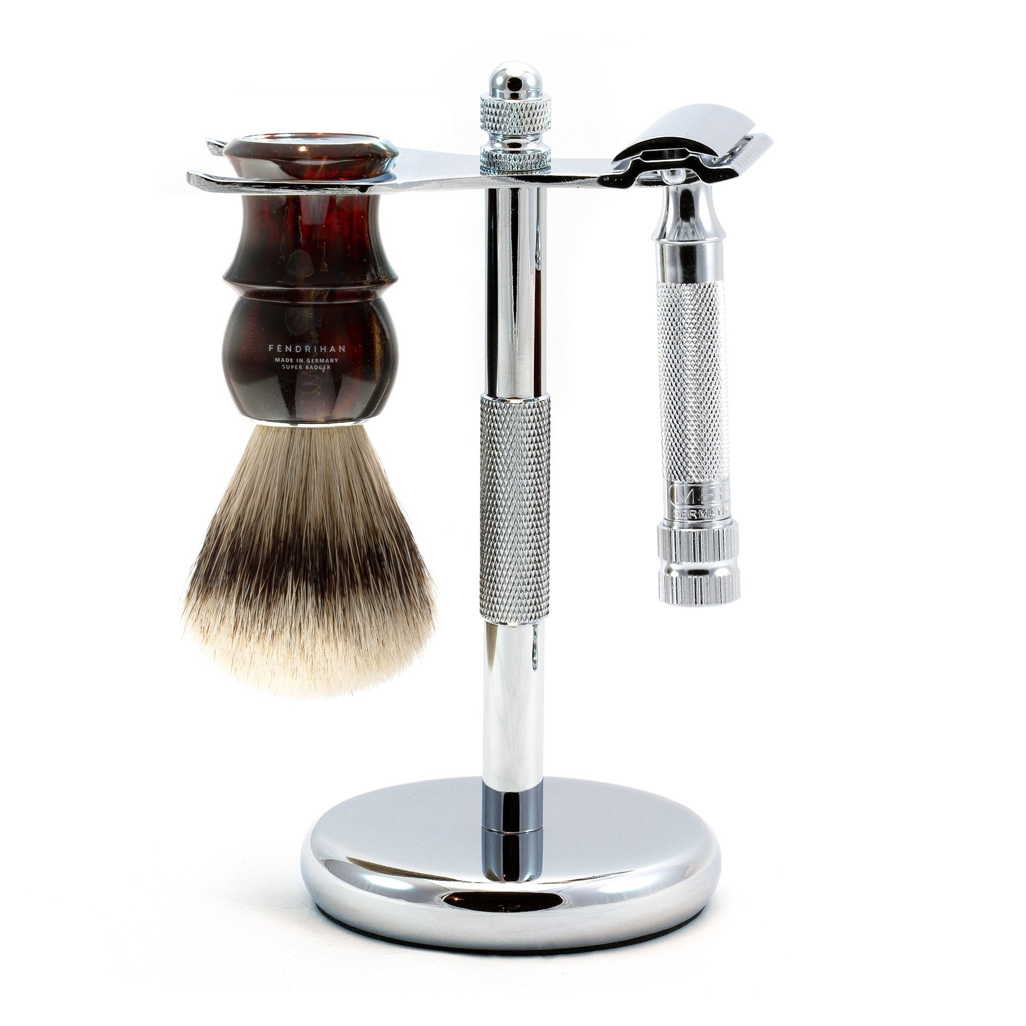 3-piece Shaving Set with Merkur 34c and Super Badger Brush, Made in Germany (Tortoise)