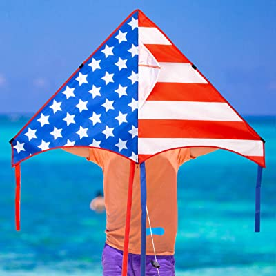 "JEKOSEN 50"" Patriotic American Flag Large Delta Kite for Kids and Adults Single Line with 58"" Tail String Easy to Fly for Beach Trip Park Family Outdoor Games and Activities: Toys & Games"