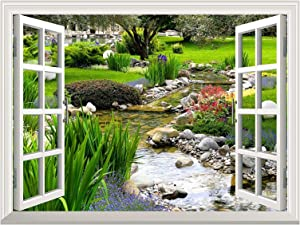 "wall26 Removable Wall Sticker/Wall Mural - Clear Spring and Green Grass Out of The Open Window Creative Wall Decor - 36""x48"""
