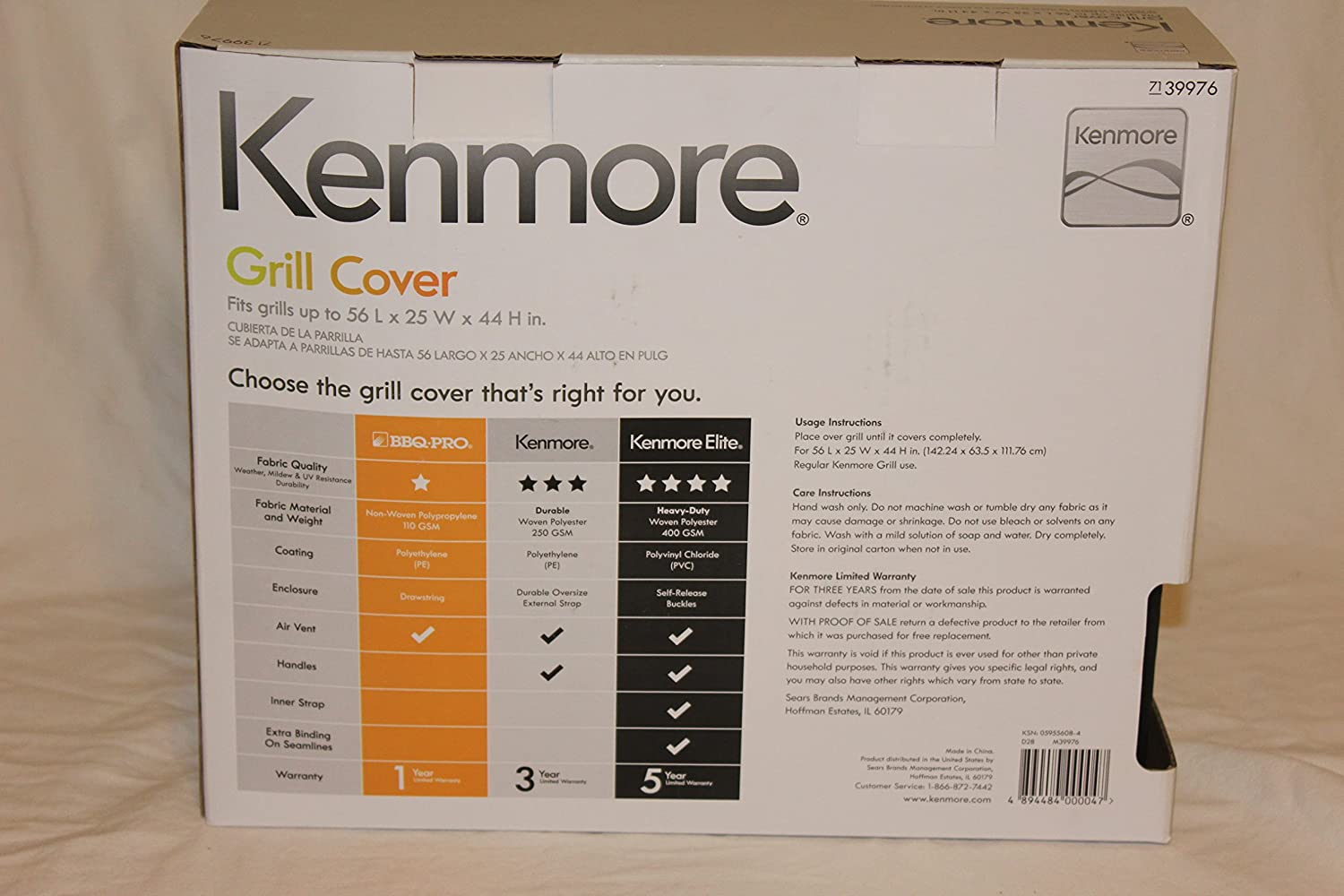 Kenmore Grill Cover Fits Grills Up To 56 L x 25 W x 44 H in.