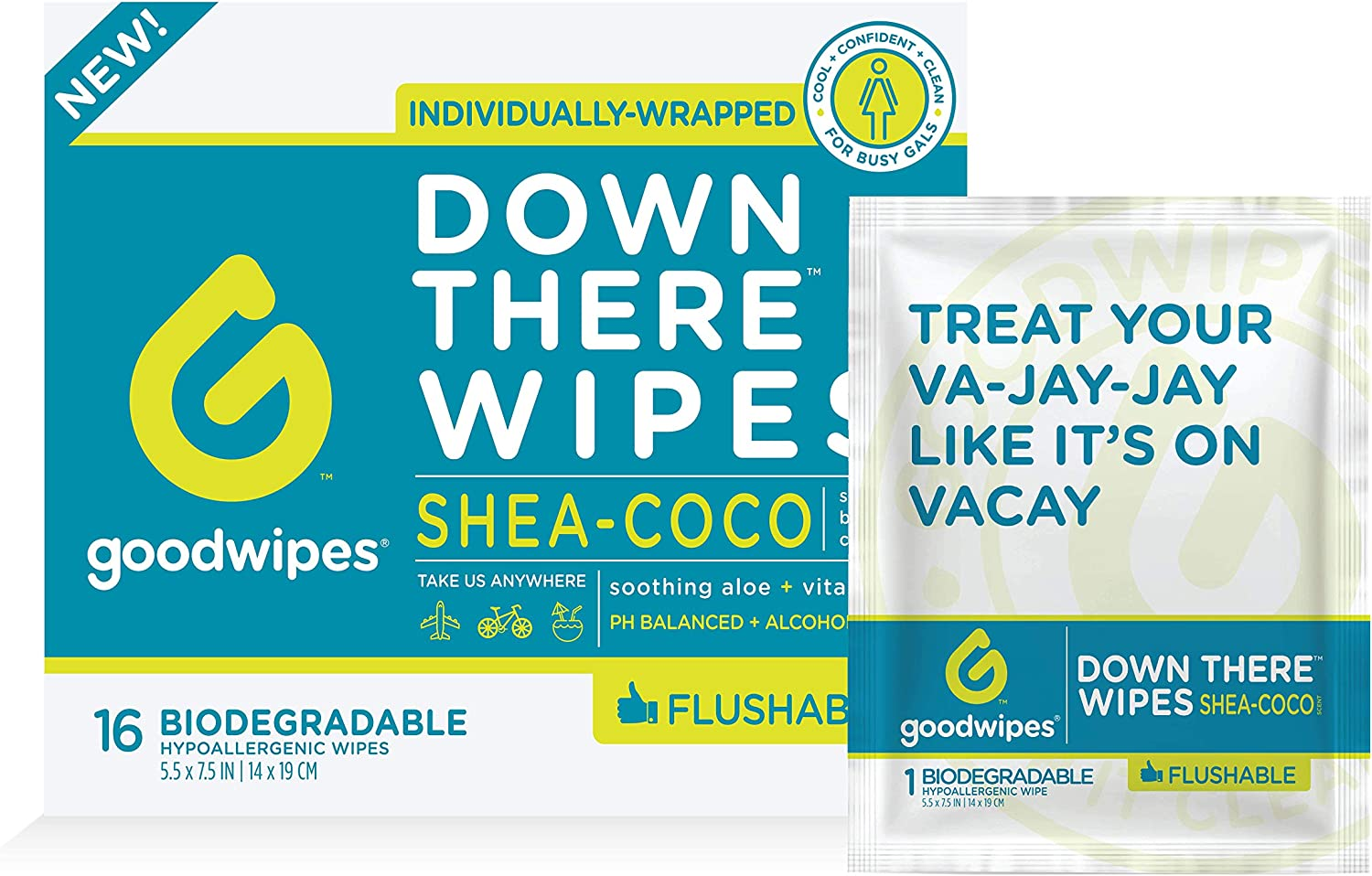 Goodwipes Down There Feminine Flushable Wet Wipes for Women, Shea-Coco Scent, 16 Individually Wrapped Wipes, 4 Count (64 Wipes)
