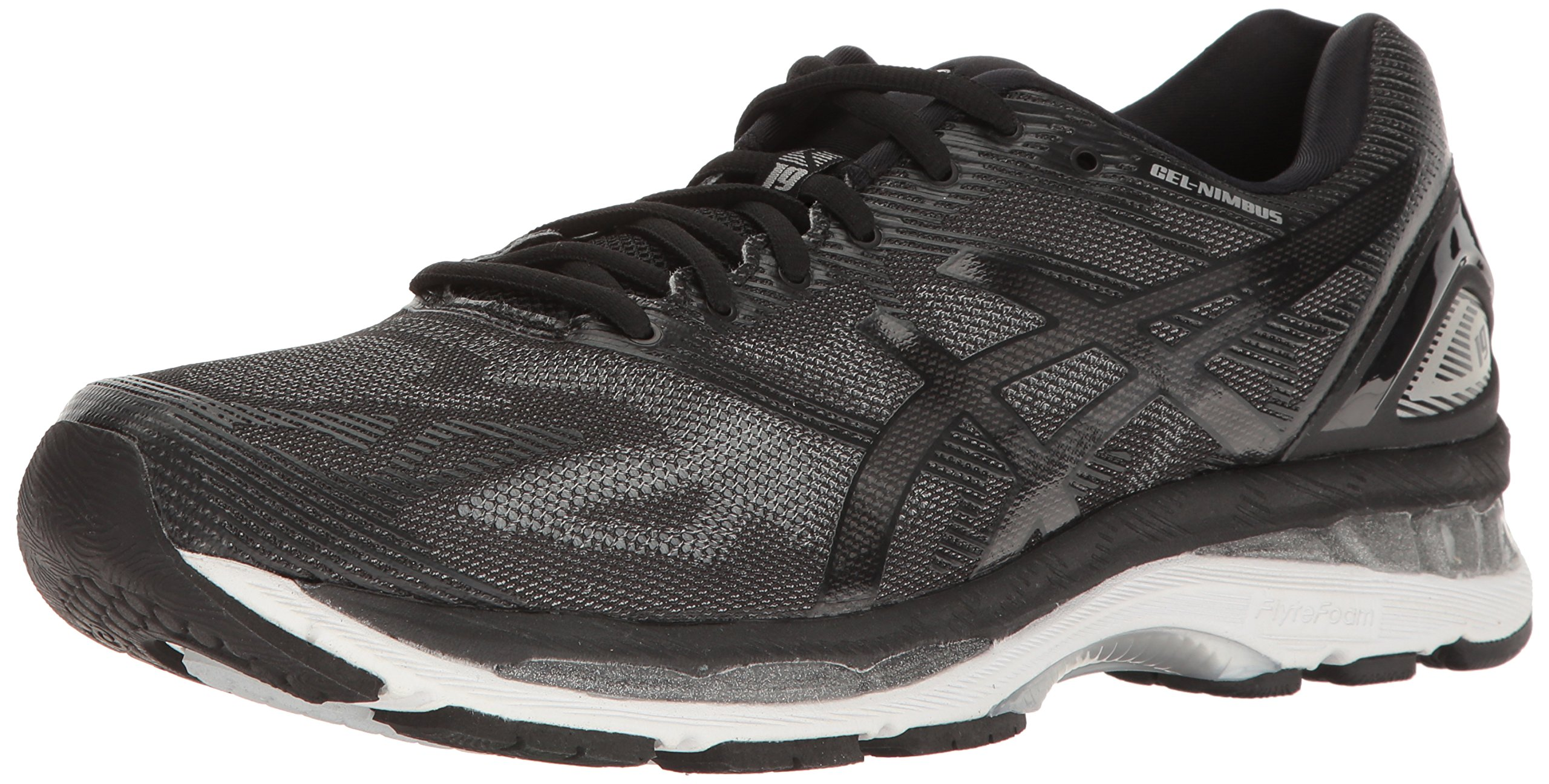 ASICS Men's Gel-Nimbus 19 Running Shoe, Black/Onyx/Silver, 10.5 M US