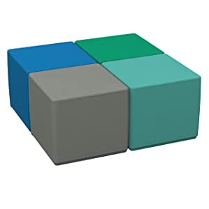 """FDP SoftScape 18"""" Square Ottoman, Collaborative Flexible Seating for Kids, Teens, Adults, Furniture for Classrooms, Offices and Home, Standard 16"""" H, (4-Piece Set) - Contemporary"""