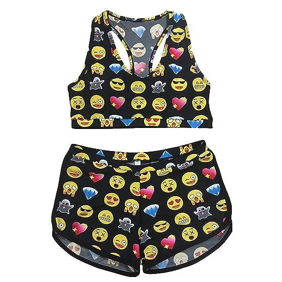 2 Stück Emoji Drucken Tankini Soft Bademode Set Bikini Für Damen S
