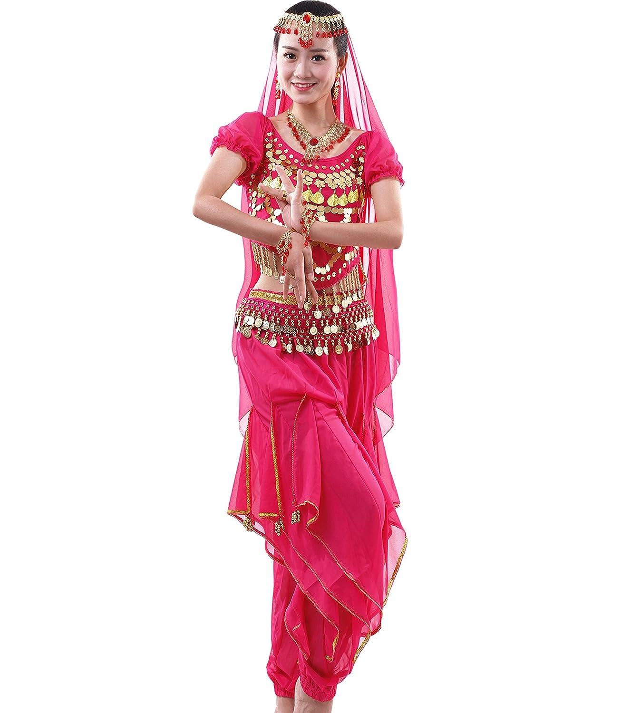 Astage Damen Bauchtanz-Komplet Tanzkostüme Indische Zubehör Alle Ornamente