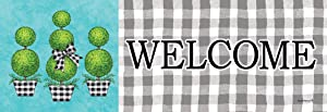 Custom Decor Gingham Topiary Welcome - Signature Sign - 5 inch x 15 inch PVC Sign Licensed, Trademarked, Copyright by CDI. Made in The USA