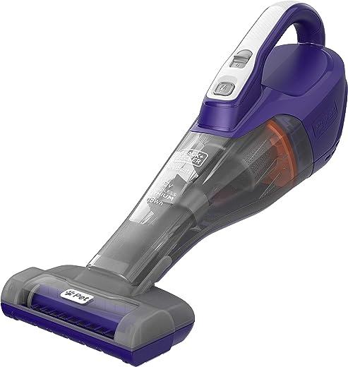 Black+Decker 12V 1.5Ah Li-Ion 400ml Cordless Dustbuster Handheld Pet Care Vacuum with Motorized Pet Head, Jack Plug Charger & Wall Mount for Home & Car, Purple/Grey - DVB315JP-GB, 2 Years Warranty