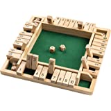 ROPODA Shut The Box Dice Game Wooden (2-4 Players) for Kids & Adults [4 Sided Large Wooden Board Game, 8 Dice + Shut The Box