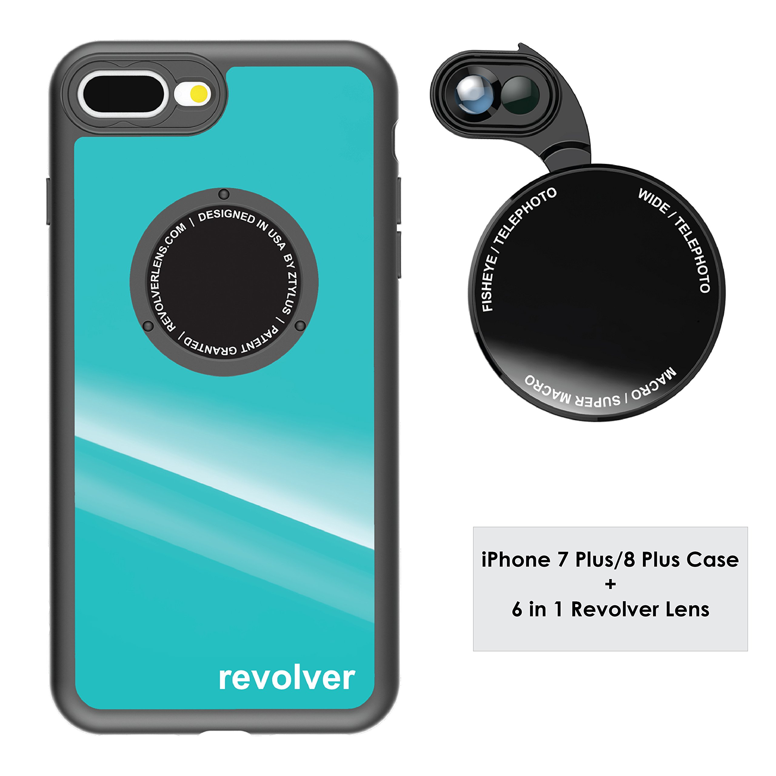 Ztylus Gloss Teal Revolver M Series Camera Kit: 6 in 1 Lens with Case for iPhone 7 Plus / 8 Plus - 2x Telephoto Lens, Macro, Super Macro Lens, Wide Angle Lens (Gloss Teal)