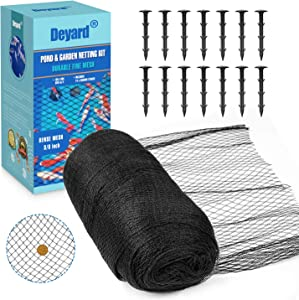 Deyard Pond Netting 15 x 20 Feet, Woven Fine Mesh Netting Cover for Pond Leaves, Protecting Koi Fish from Birds, Cats, Heavy Duty Pool Protective Netting with Gift Box (14 Stakes Included)