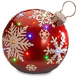 National Tree 18 Inch Red Jeweled Ornament with Snowflake Design and 24 Multicolored LED Lights (BG-19487AR)