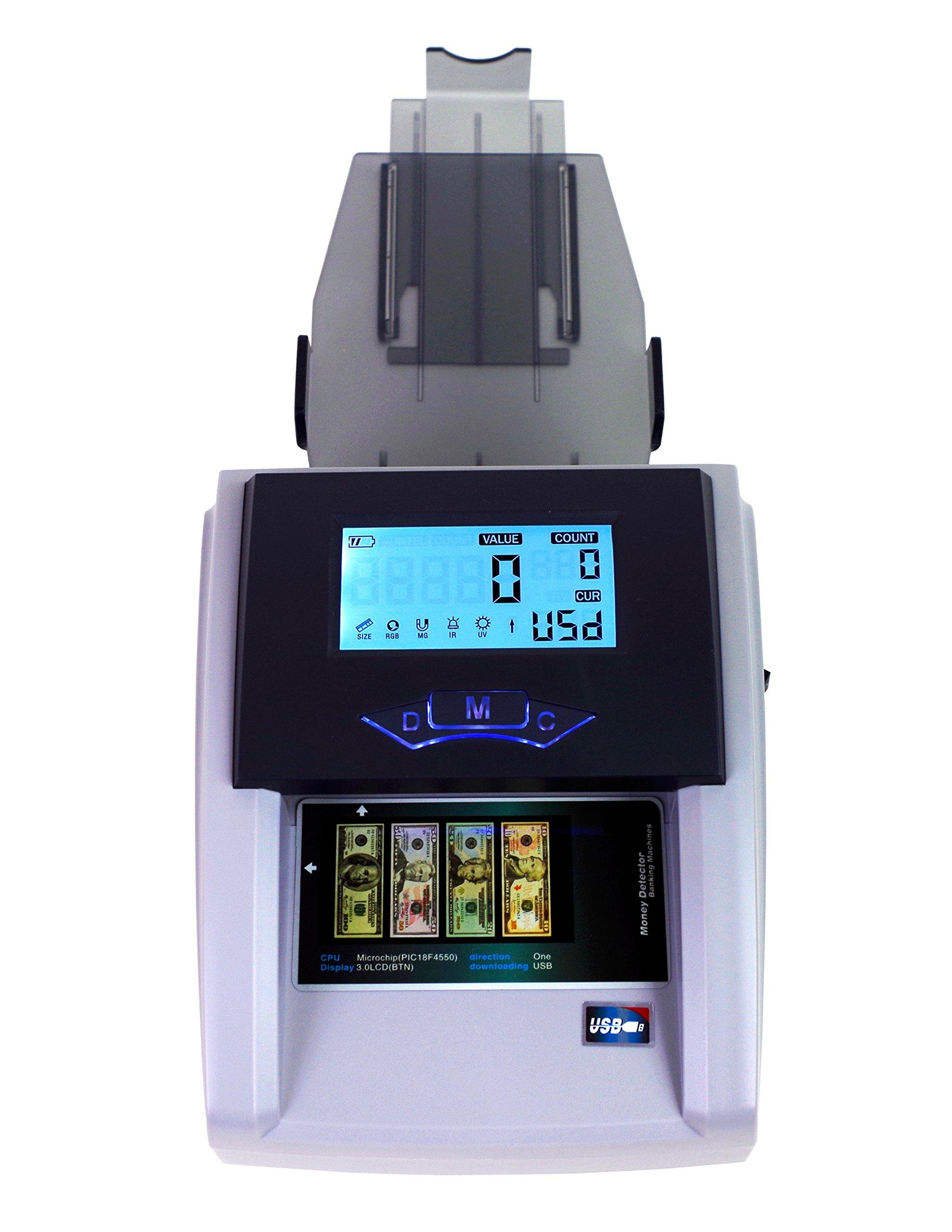 Money Detector Counterfeit Bill Counter Banknote Denomination Cash Reader UV MG Fake Bill LCD Screen By Spreezie