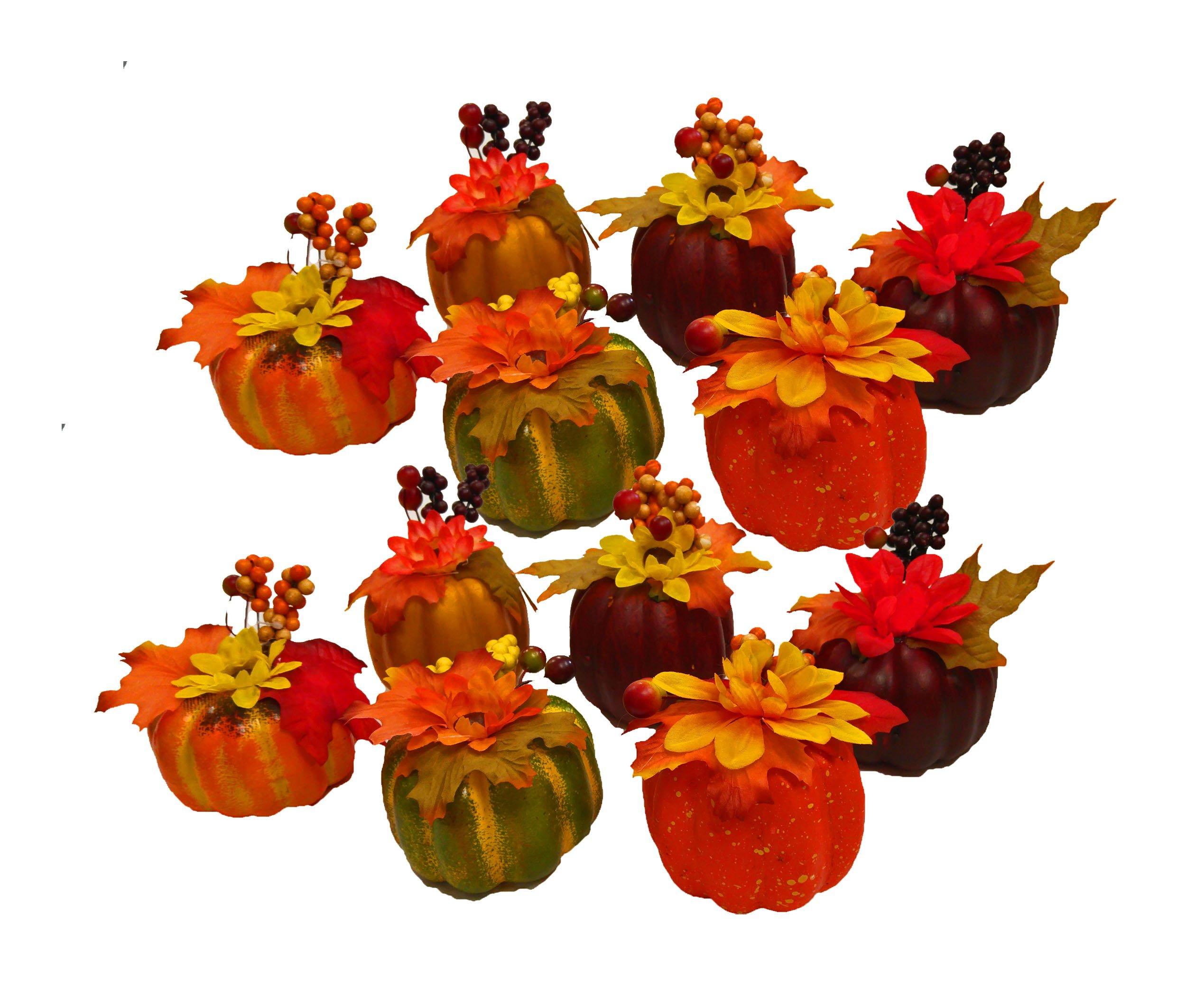 Black Duck Brand Set of 12 Artificial Decorative Harvest 4'' Pumpkins/Gourds Fall Halloween Decorations (Set of 12) by Black Duck Brand