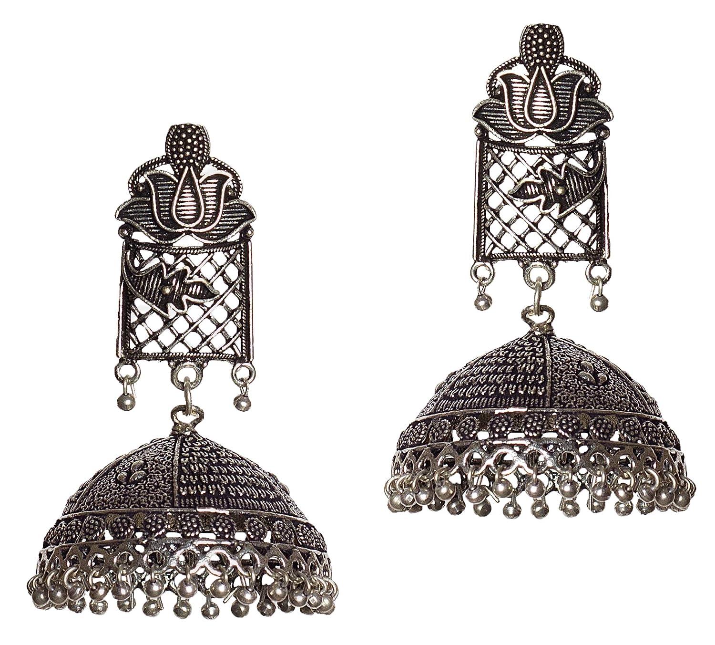 DESI HAWKER Silver Oxidized Earring Bali Jhumki Jhumka Jewelry Bollywood Drop Dangle Big Chandelier Lotus NI-25