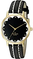 kate spade new york Goldtone Metro Scallop Black And White Leather Watch