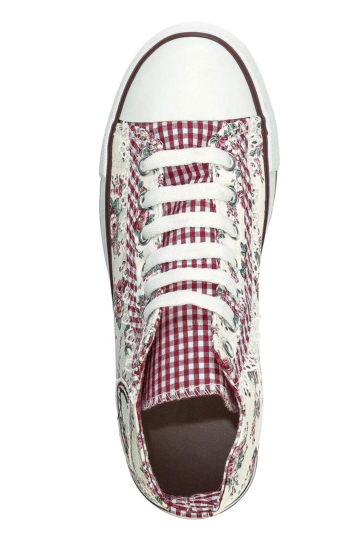 Hachiro Damen Canvas Sneaker Trachten Look