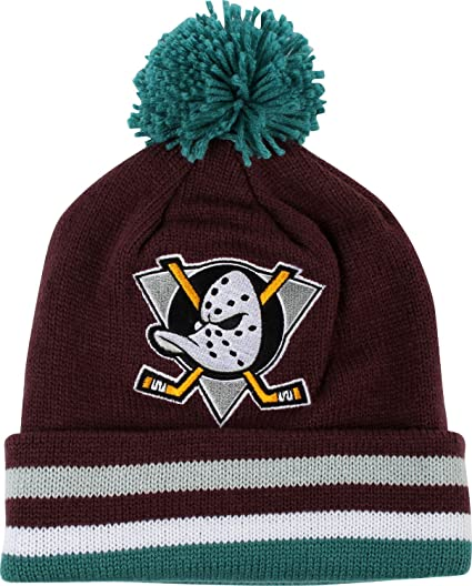 b3e729e3767 ... purchase anaheim mighty ducks mitchell ness jersey stripe knit hat  1e115 c27eb coupon code for new era nhl word block ...