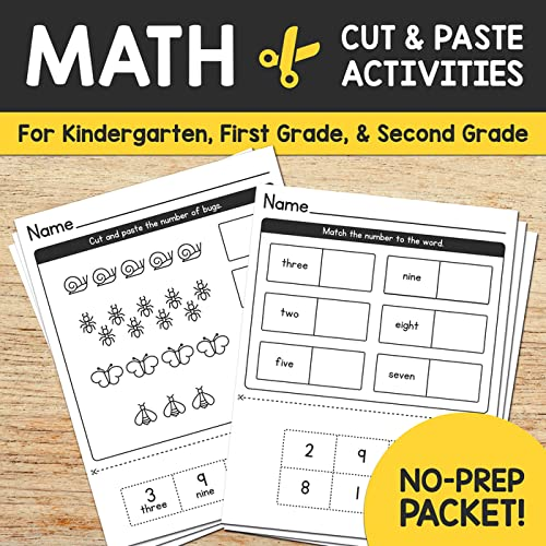 No Prep Required! No Laminating, Assembly, Or Using Expensive Colored Inks.  Just Print In Black And White, And You're All Set! Our Cut & Paste Math  Worksheets – NO PREP Activity Pack Is Designed For Kindergarten, 1st Grade,  And 2nd Grade Students – Or