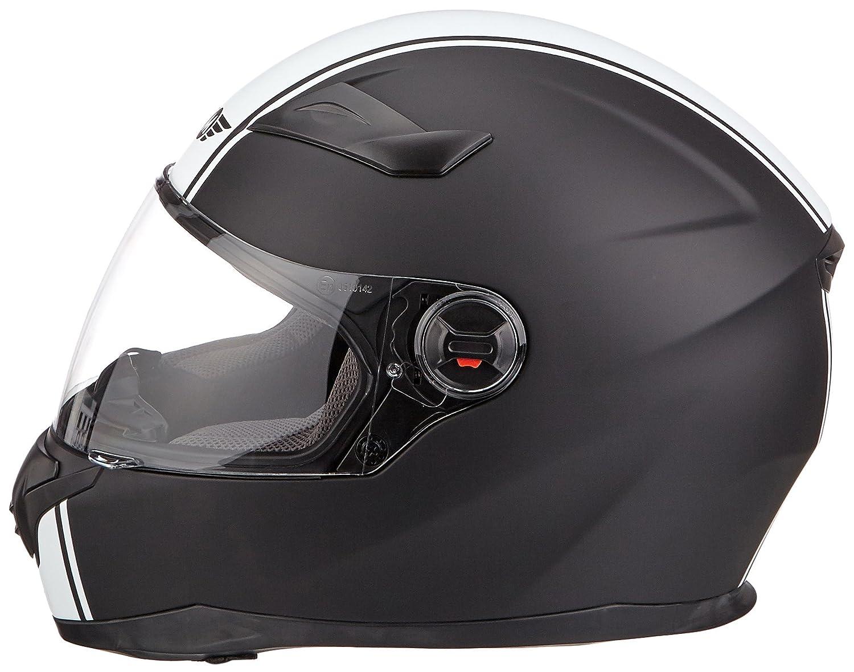 55-56cm MOTO X86 Racing Matt Black /· Moto motocicleta Urban Cruiser Urbano Casco Integrale Fullface-Helmet Scooter Sport /· ECE certificado /· visera incluido /· incluyendo bolsa de casco /· Blanco /· S