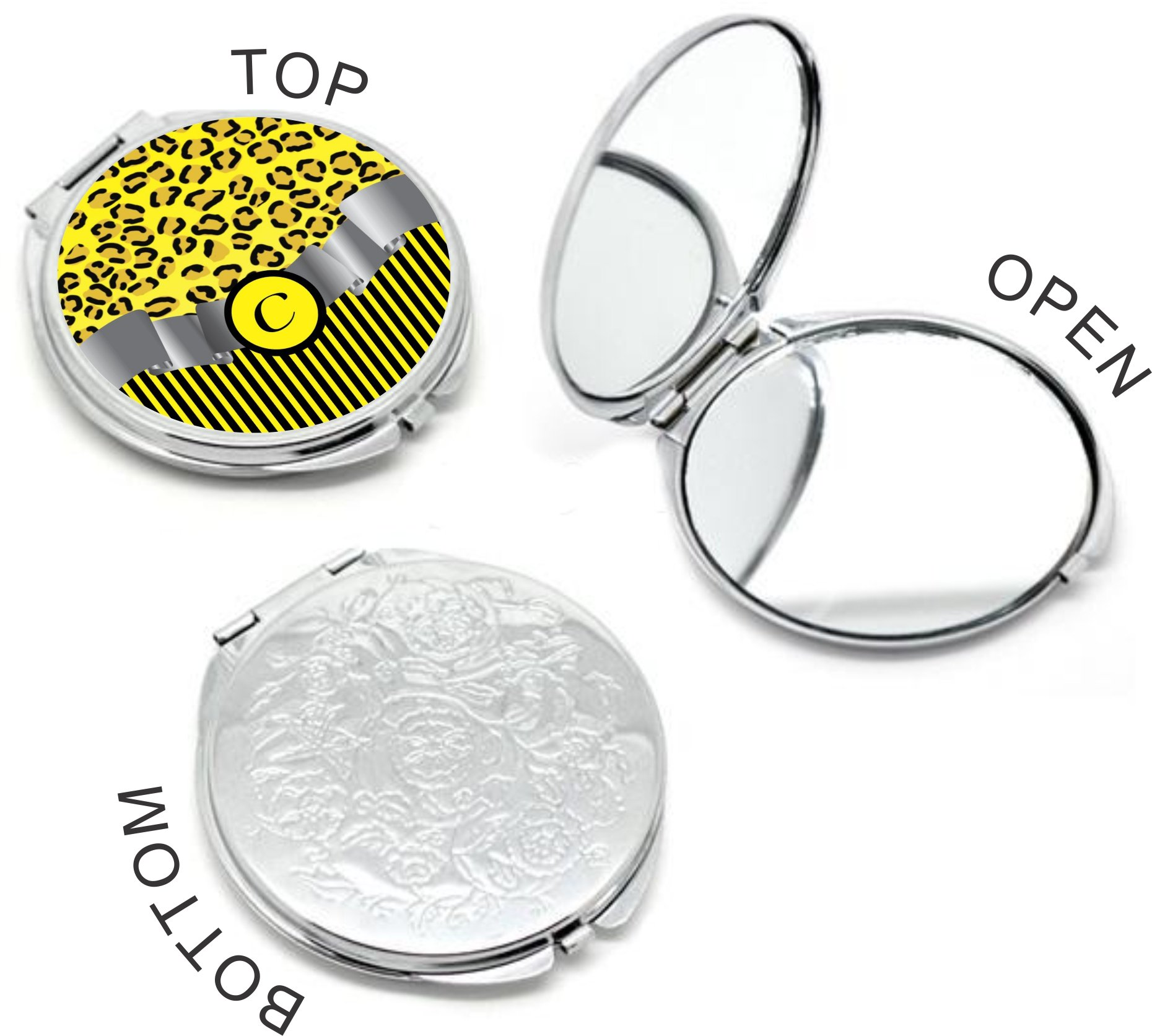 Rikki Knight Letter''C'' Yellow Leopard Print Stripes Monogram Design Round Compact Mirror