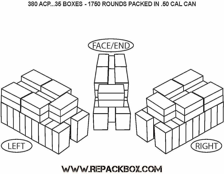REPACKBOX - 100 Box Bundle - 380 ACP Military Cardboard Ammo Box Holds 50 Rounds - Packs 5000 811vMAuVSDL