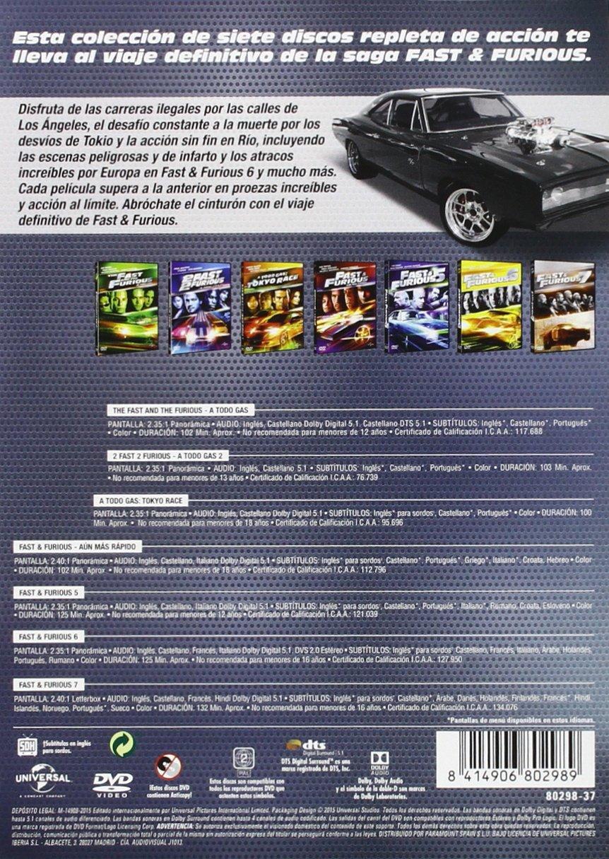 Pack Fast & Furious: Colección 1 - 7 [DVD]: Amazon.es: Vin Diesel ...